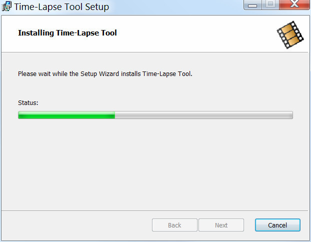 Time-Lapse Tool installation wizard progress screen