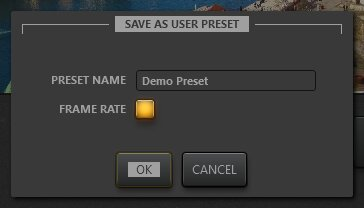Time-Lapse Tool Effect Preset Save Dialog