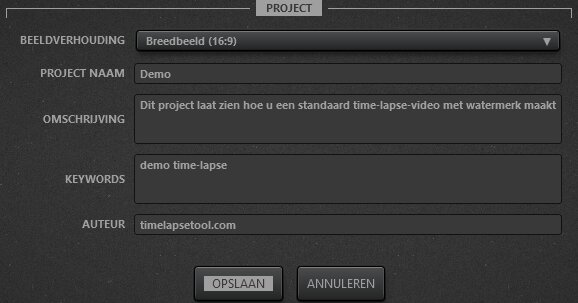 Time-Lapse Tool Instellingen videoproject