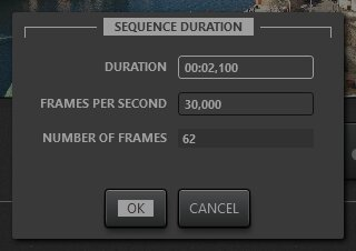 Timelapse sequence duration editing dialog