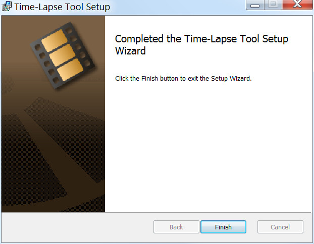 Installation wizard showing completed the Time-Lapse Tool software installation