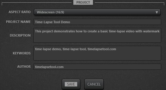 Time-Lapse Tool Video Project Settings