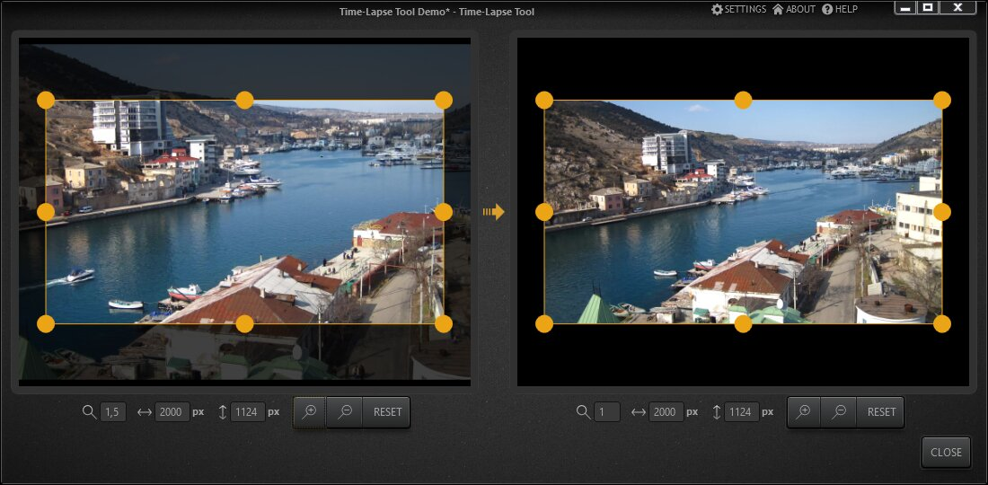 Time-Lapse Tool Editor for Camera Zoom and Move Emulation
